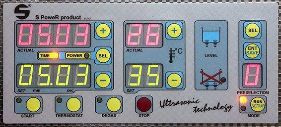 Digitálny ovládací panel ultrazvukovej čističky
